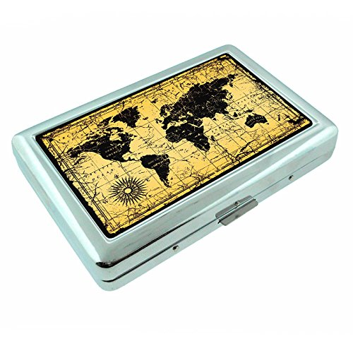 Metal Silver Cigarette Case Vintage Poster D-012 World Map Antique Vintage Old Style Decorative (Old Cigarette Holders)