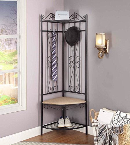 Metal Scroll Hall Tree - Black Metal Corner Entryway Hallway Hall Tree Shoe Rack with Beige Microfiber Bench & 6 Hooks Scroll Design