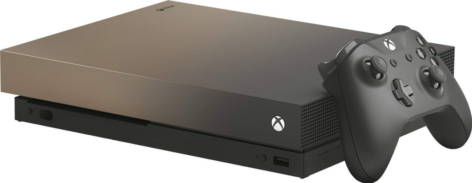 Microsoft Xbox One X 2TB Solid State Hybrid Drive Limited Edition Gold Rush Gaming Console with Wirless Controller - Native 4K - HDR - Enhanced by Scorpio CPU and Fast SSHD