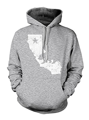 California State Map - Cali Men's Hoodie Sweatshirt (2XL, LIGHT GRAY) - Illuminati 4 Light
