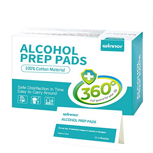 - Winner Ultra Large Alcohol Prep Pads, 100% Soft Alcohol Wipes, Individually Sealed to Keep Sterile and Moist, 50 Count