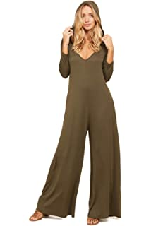 21e5fbd85014 Annabelle Women s Comfy 3 4 Sleeve V-Neck Wide Legs Palazzo Pants Romper  Hoodie