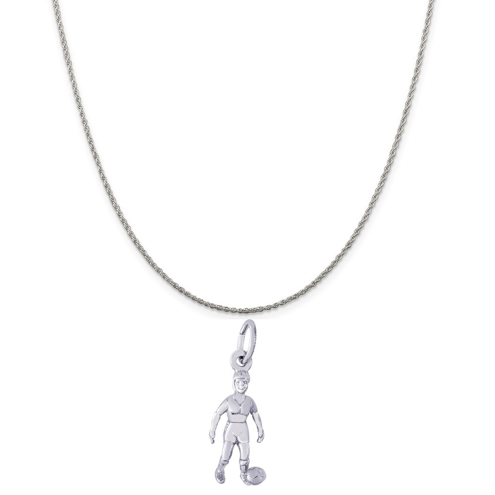 Box or Curb Chain Necklace Rembrandt Charms Sterling Silver Female Soccer Charm on a 16 18 or 20 inch Rope