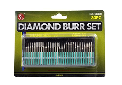 SE 8230DD8 30-Piece Set of Assorted Diamond Burrs, 80 Grit