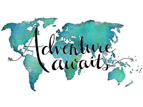 (Adventure Awaits Teal World Map Print 11x14 inches Travel Quote Wall)