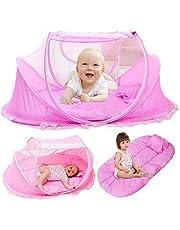 Kidsidol - Mosquitera portátil plegable para cuna de bebé, con funda de malla para almohada, ideal para dormitorio o viaje azul azul