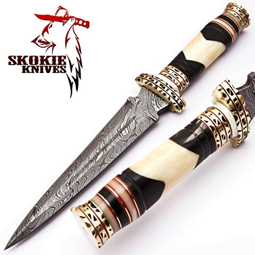 Damascus Beautiful Steel Dagger Knife - Camel Bone Handle - Sharp Edge Fix Blade - Genuine Multipurpose Knife 12.5