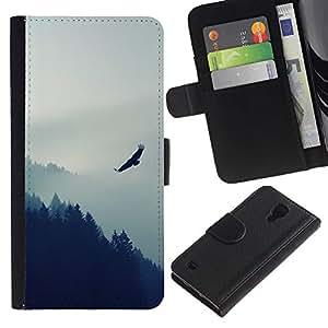 LECELL--Cuero de la tarjeta la carpeta del tirón Smartphone Slots Protección Holder For Samsung Galaxy S4 IV I9500 -- Eagle Mountain --