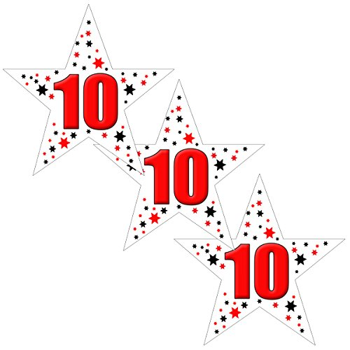 10TH Birthday Star Sticker (24 Pieces) by Partypro from Partypro