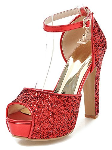 5 Red Glitter High Heel - Aisun Women's Platform Sandals with Ankle Strap - Peep Toe Buckled High Heel - Chunky Glitter Sequins (Red, 7.5 B(M) US)