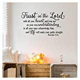 """best bible verse wall decals Trust in the Lord With All Your Heart..Proverbs 3:5-6 Vinyl Lettering Wall Decal Sticker (16.5""""H x 30""""L, Black)"""
