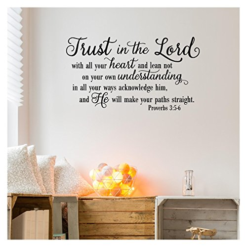 Decal Sticker Lettering Wall (Trust in the Lord With All Your Heart..Proverbs 3:5-6 Vinyl Lettering Wall Decal Sticker (16.5