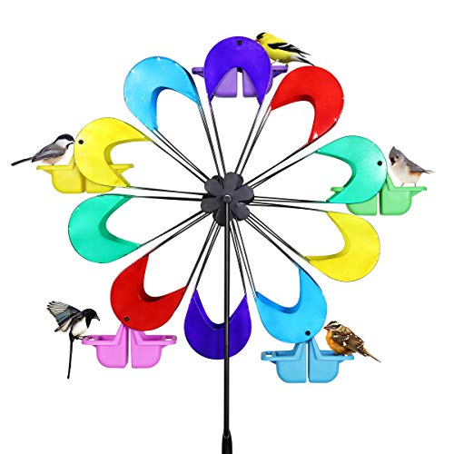 - Exhart Spinning Ferris Wheel Bird Feeder Moves w/Weight of up to 12 Birds - 8 feet Tall Giant Metal Bird Feeder w/Multicolor Metal Finish and Feeding Baskets, Bird Feeder Spinner 24in L x 95in H