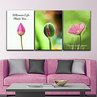 Classic Design, Unbelievable Visual, 3 Panel Flower Bud and Flower with Inspirational Quotes x 3 Panels