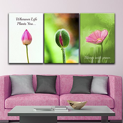 3 Panel Flower Bud and Flower with Inspirational Quotes x 3 Panels