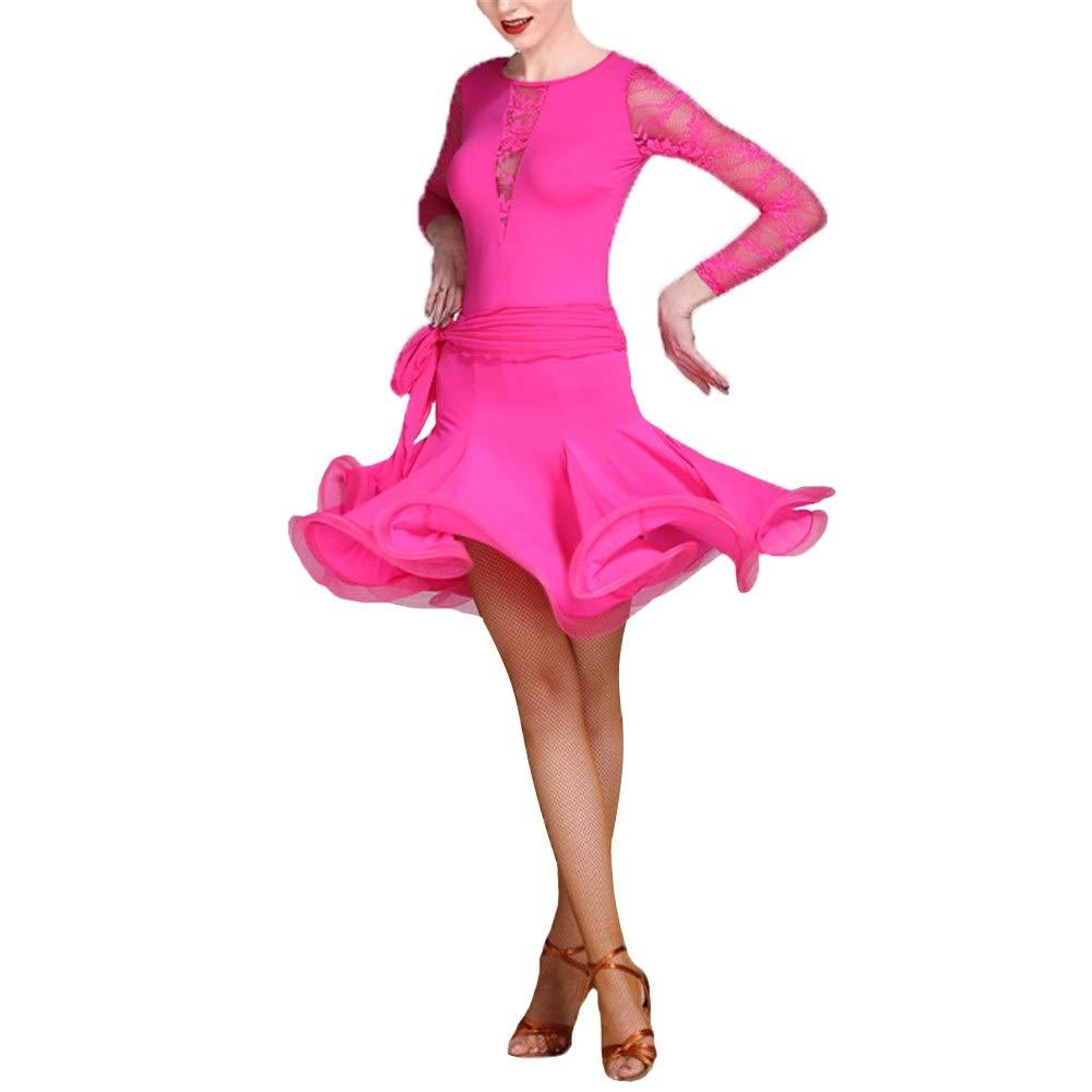 Rose Rouge Medium Robe de danse latine Les dames pompon Femmes Manches Longues Col Rond Dentelle Salle De Bal Robe De Danse Latine Costume De Perforhommece Compétition Professionnelle Pratique De Danse Party Dance Jupe Costu