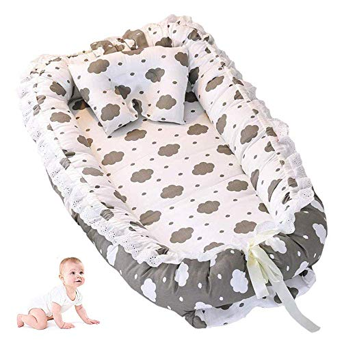 ABenkle Ruffled Baby Bassinet for Bed -Clouds Baby Lounger - Breathable & Hypoallergenic Co-Sleeping Baby Bed - 100% Cotton Portable Crib for -