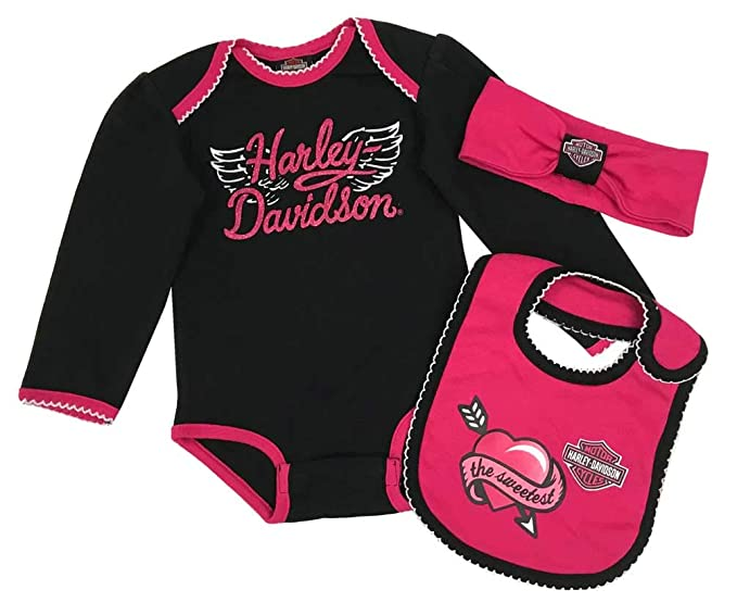 Amazon Com Harley Davidson Baby Girls 3 Piece Newborn Creeper