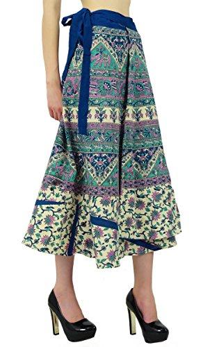 Magia Modelo Wrap Algodón Floral Falda Pareo Hippie Multicolor(Diseño#5)