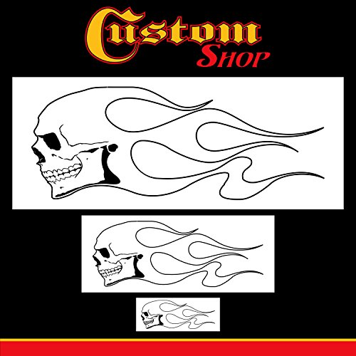 Custom Shop Airbrush Skull Fire Flame Stencil Set (Skull Design #1 in 3 Scale Sizes) - Laser Cut Reusable Templates - Auto, Motorcycle Graphic Art Auto Airbrush Stencils