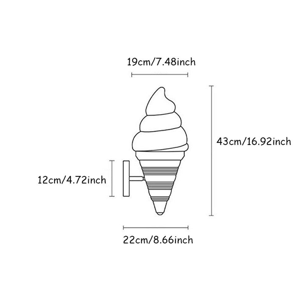 DLINMEI LED Ice Cream Cone Ice Cream Wall Lamp Creative Personality Cartoon Wall Sconce Dessert Shop Childrens Room Wall Light