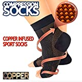 copper feet - VERISA® Copper Compression Recovery Foot Sleeves/Plantar Fasciitis Ankle Support Socks, Stabilizer for Relief Of Heel Spurs, Arch Pain, Foot Swelling & Ankle Injuries
