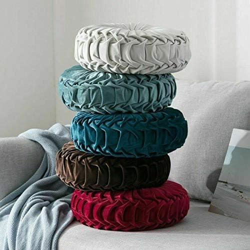 colore: Azzurro Cuscino rotondo in velluto a forma di zucca per casa Cobeky divano con pieghettato