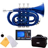 Image of Mendini MPT-BL Lacquer Brass Bb Pocket Trumpet, Blue