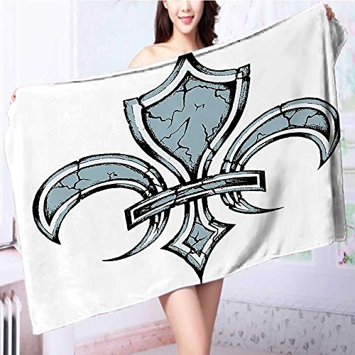 also easy 100% Cotton Bath Towel Grungy LilyRenaissance Spirit Element Victory Holy Print No Fading Multipurpose L63 x W31.2 INCH by also easy