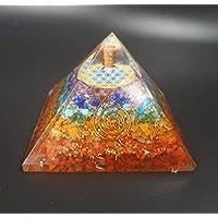 Pirámide Orgonita 7x7cm Feng Shui y Flor de la Vida Lapislázuli Cuarzo Blanco Cuarzo Rosa Piedra Luna Ojo Tigre Amatista…