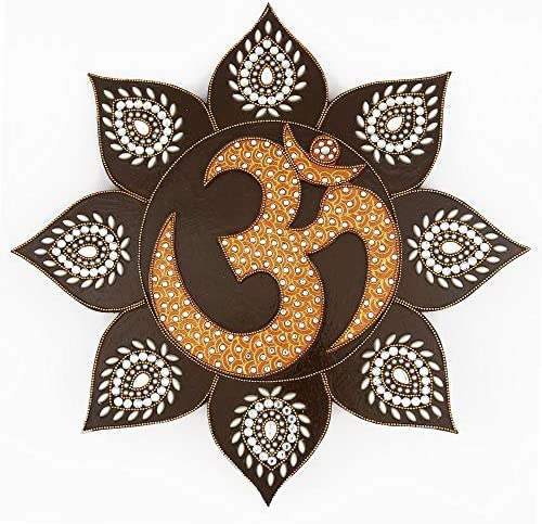 Om Symbol – Om Sign – Wall Painting – Wall Decor for Living Room – Handmade Hand Painted Hand Decorated – Hindu Art – Inspired by Temples In India – Copper Brown Colour