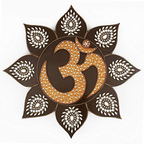 (Om Symbol - Om Sign - Wall Painting - Wall Decor for Living Room - Handmade Hand Painted Hand Decorated - Hindu Art - Inspired by Temples In India - Copper Brown Colour)