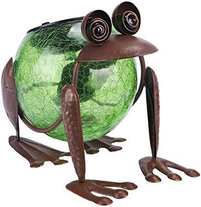 MUMTOP Solar Lantern Outdoor Waterproof LED Solar Lights Frog Decorative Tabletop Lanterns for Patio Garden Table Decor