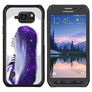Caucho caso de Shell duro de la cubierta de accesorios de protección BY RAYDREAMMM - Samsung Galaxy S6Active Active G890A - Luna Mujer estrellas azules Cabello