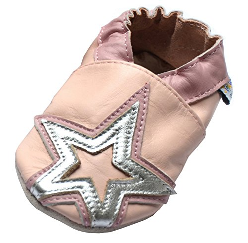 Jinwood designed by amsomo 12 Verschiedene Modelle - Jungen - Maedchen - Hausschuhe - Echt Leder - Lederpuschen - Krabbelschuhe - Soft Sole/Mini Shoes DIV. Groeßen 17/19-35/36 stars pink mini shoes