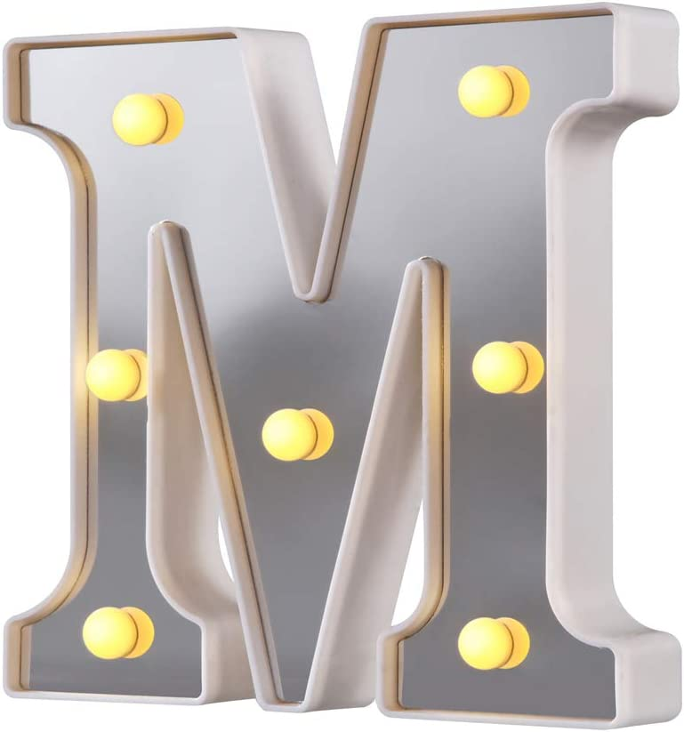 LED Marquee Letter Lights, 26 Alphabet Light Up Letters Sign Perfect for Night Light Wedding Birthday Party Christmas Lamp Home Bar Decoration (Silver,M)