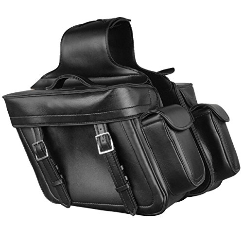 - Milwaukee Leather Zip Off PVC Throw Over Saddlebags with Bonus Side Pockets - One Size