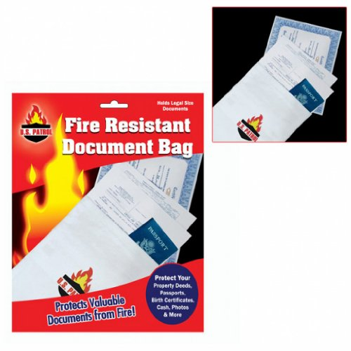 Fire Resistant Document Bag - 9 inch by 14 inch - Fire Resistant File Folders