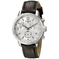 Deals on Tissot Mens PRC 200 Chronograph Leather Silver Dial