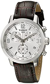 Tissot Men's TIST0554171603700 PRC 200 Chronograph Stainless Steel Watch with Brown Leather Band