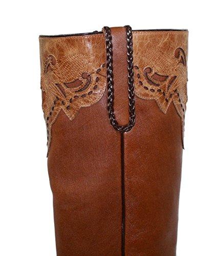 Stivali Da Donna Lunghi In Vera Pelle Morbida Da Cowboy / Ragazza Marrone
