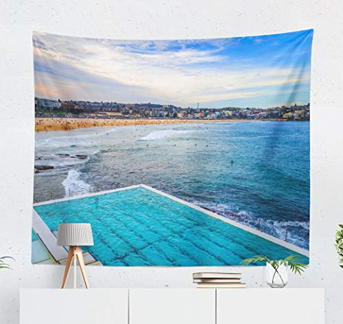 Summor Tapestry Beach Landscape and Swimming Pool Australia Australian Blue Art Nature Home Decorations for Living Room Bedroom Dorm Decor in 60