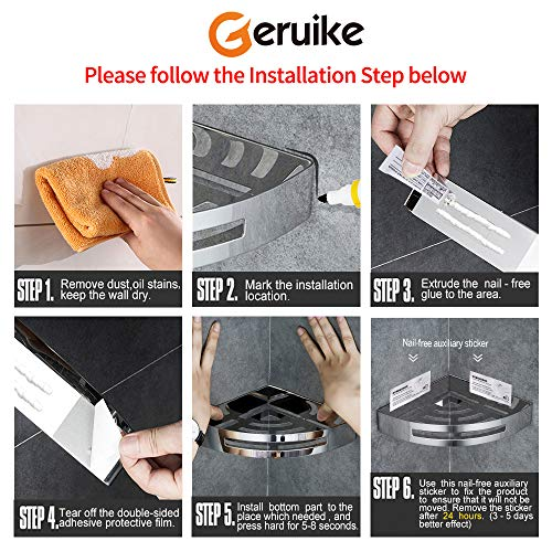 GERUIKE Bathroom Corner Shelf Shower Caddy Wall Mount Stainless Steel Self Adhesive Organizer Shelf with Hooks,Silver by GERUIKE (Image #5)