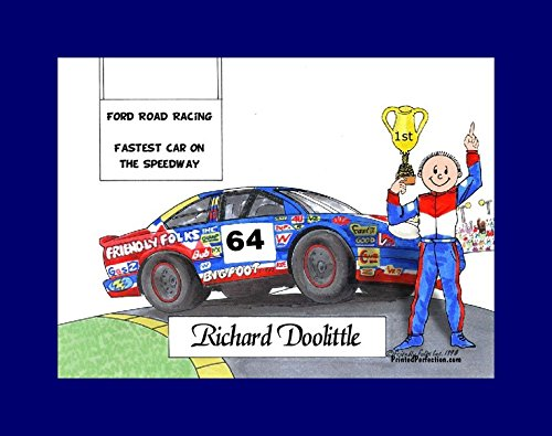 Personalized Friendly Folks Cartoon Print w/Mat - Ready to Frame Race Car Driver, Stock - Male ()