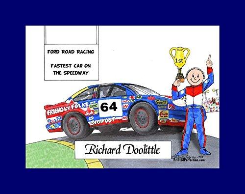 (Personalized Friendly Folks Cartoon Print w/Mat - Ready to Frame Race Car Driver, Stock - Male)