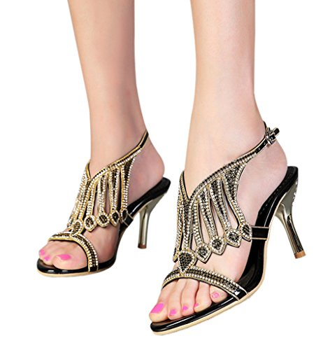 Cutouts Ankle Stiletto Women's Strap 01 black Heels Slingback pu Crystal Sandals Party Sparkle Dress High qEZxwA1