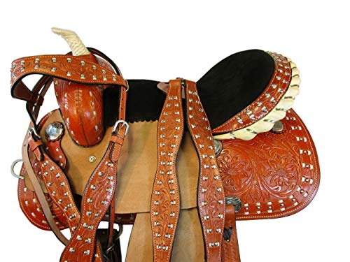 (15 16 Trail Pleasure Horse PRO Western Saddle Barrel Racing Racer Tooled Leather (15))