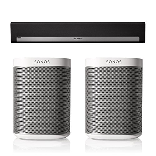 Sonos PLAYBAR Surround Sound System with PLAY:1 Pair (White) by Sonos