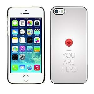 [Neutron-Star] Snap-on Series Teléfono Carcasa Funda Case Caso para iPhone 5 / 5S [El amor del arte del mapa Cita Corazón Símbolo Rojo]