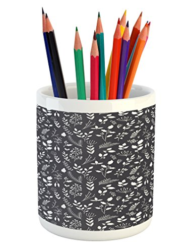 Cheap  Lunarable Black and White Pencil Pen Holder, Wildflowers Bedding Plants Gardening Theme..
